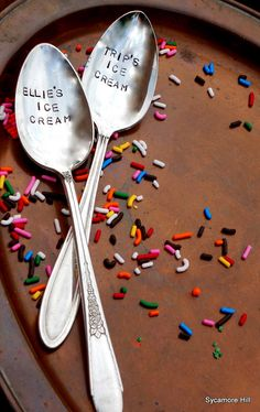 Ice cream for two... love the idea of engraved spoons :)