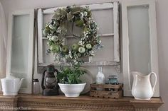 Mantel decorated with old windows...