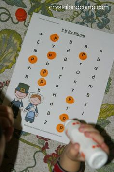 thanksgiving do a dot printable for preschoolers  (p is for pilgrim)