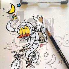#달빛 #여행 #자건거 #그림 #moonwalker #pencildrawing #bicycle  #illustration