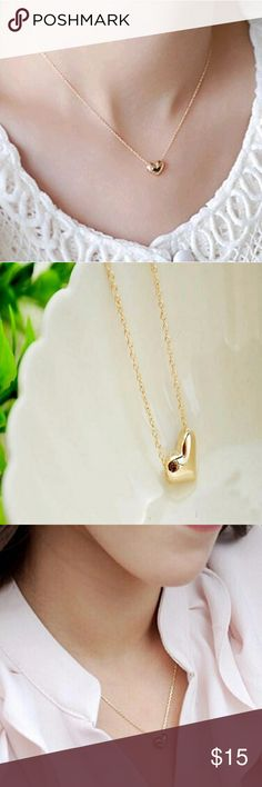 5 for $25 Gold Color Heart Necklace Gold Color Heart Necklace Jewelry Necklaces