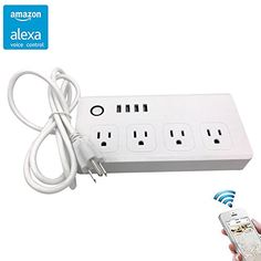 Smart Power Strip 4 Outlet  4 USB Voice Control Via Amazon Alexa Solpow WiFi Socket Smart Phone Remote ControlNo Hub Required 5Ft Wire -- More info could be found at the image url-affiliate link.