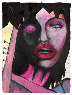 "Marilyn Manson | 30"" X 22"" | Watercolor, Ink, Enamel, Acrylic"