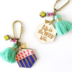 """Designed and hand made for CoCo + Kiwi by Jill Makes! This Two-sided keychain is inscribed with our """"Life is the Messy Bits"""" quote on one side and is hand painted with fun colors and designs on the re Diy Jewelry, Jewelery, Jewelry Design, Jewelry Making, Tassel Keychain, Diy Keychain, Keychains, Diy Tassel, Tassels"""
