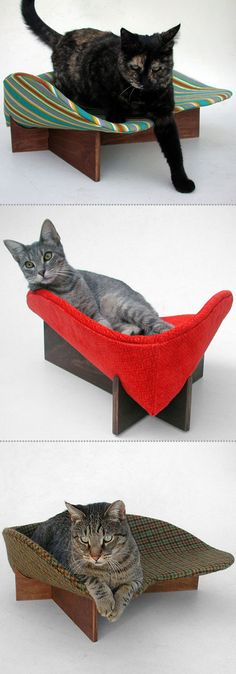 the last cat looks like mine and all three of my cats would love to have a bed like that Cool Cat Beds, Cool Cats, Cat Furniture, Furniture Design, Kinds Of Cats, Pet Beds, Cat Toys, Modern Chairs, Cats And Kittens