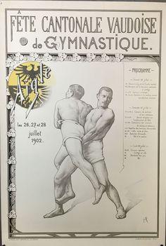 VAUD Fête cantonale Vaudoise de Gymnastique par Frédéric ROUGE 1902 ENCADRÉE Frederic, Europe, Gymnastics, Posters, Exercise, Red