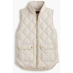 J.Crew Petite Excursion Quilted Down Vest ($160) ❤ liked on Polyvore featuring outerwear, vests, jackets, tops, j.crew, petite, lightweight quilted vest, lightweight down vest, quilted vest and pocket vest