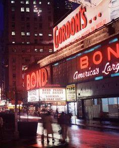 1970s Bond Clothing Gordons Vodka Billboards Neon Times Square NYC vintage New York | Flickr - Photo Sharing!