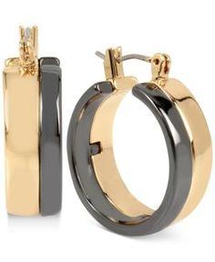 Robert Lee Morris Soho Two-Tone Wide Hoop Earrings - Gold