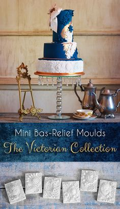 If you like the bottom tier on this cake, have a look at our Victorian Collection! It's any bakers dream! Mini Bas-Relief Moulds are excellent for cake decorating! Edible Diamonds, Icing, Cake Decorating, Victorian, Candy, Tools, Crystals, Stylish, Unique