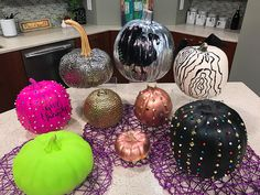 One side is all about Halloween then simply turn them around to display Thanksgiving graphics so you don't have to put your pumpkins away after Halloween. Push Pin pumpkins are all the rage!