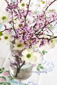 A Spring Branch Bouquet--this one uses Dogwood and Redbud branches, but you can use any branch with pretty blooms!