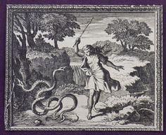 Métamorphoses en rondeaux, illustrated by Le Clerc, Chauveau, and Le Brun  (Paris, 1676)  This print depicts the gender transformation of Tiresias.