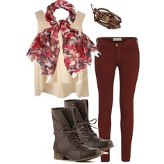 Maroon pants and scarf with brown accents  -trongaus on Polyvore