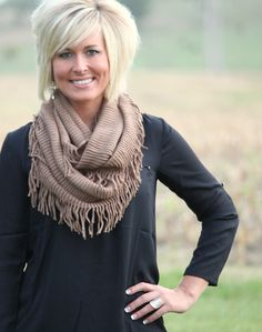 Sass N' Stones - Knit Fringe Infinity Scarf, $18.95 (http://sassnstones.com/knit-fringe-infinity-scarf/)