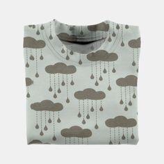 Stretch jersey natur med grå skyer
