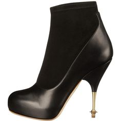 Vivienne Westwood Stretch Ankle Boot (Black) Women's Pull-on Boots (£540) ❤ liked on Polyvore featuring shoes, boots, ankle booties, black high heel booties, black leather boots, ankle boots, platform ankle boots and black platform booties