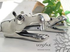 Own-P | Rakuten Global Market: (LOYFAR) A stapler (very much) made in the pewter which the hippopotamus which opened a mouth bites (stapler / stapler )(MX009)( postal impossibility out of the fixed form)