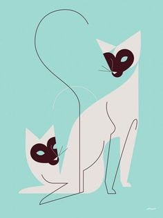 """""""The Twins"""" Feline Wall Art by Eleanor Grosch for GreenBox Art + Culture sizes 10x14 $59 and 18x24 $119"""