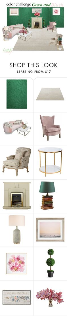 """""""Green & Blush"""" by cody-k ❤ liked on Polyvore featuring interior, interiors, interior design, home, home decor, interior decorating, Max Wanger, Improvements, The French Bee and colorchallenge"""