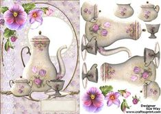 Vintage Floral Tea Set Card Front and Decoupage on Craftsuprint designed by Sue Way - A really pretty card front with flowers, lace