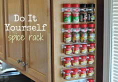 DIY Spice Rack for more Cabinet Space Diy Organizer, Diy Kitchen, Kitchen Storage, Kitchen Ideas, Kitchen Hacks, Kitchen Decor, Diy Spice Rack, Spice Storage, Storage Shelves