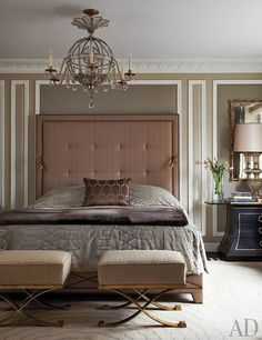 Interior Design colour Bedroom interior design and decor ideas + feminine - A Chicago Apartment with French Flair: Architectural Digest Paul. Next Bedroom, Dream Bedroom, Home Bedroom, Bedroom Decor, Design Bedroom, Bedroom Ideas, Headboard Ideas, Bedroom Modern, Headboards