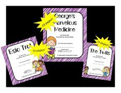 """Do your students love Roald Dahl?  Maybe you're using his writing style to mentor creative writing?  Do you have struggling readers who are having trouble learning to love reading?  This bundle is for you!Included in this bundle are novel studies for: Esio Trot The TwitsGeorge's Marvelous Medicine You get 3 novel studies, each with CCSS-aligned """"dig deep"""" questions, vocabulary skill building questions, and critical thinking questions."""