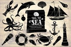 Nautical Sea Hand Drawn Illustration Set by melrodicq on Envato Elements Travel Illustration, Graphic Illustration, Art Design, Graphic Design, Typographie Fonts, Sea Art, Photoshop Illustrator, Drawing, Icon Set
