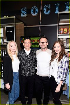 Portia Doubleday, Rami Malek, Christian Slater, and Carly Chaikin pose for photos while attending the Mr. Robot Pre-Linear Facebook Live event on Sunday (July 10) in New York City