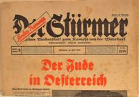 Issue of the pro-Nazi, antisemitic Der Sturmer newspaper  Click to enlarge