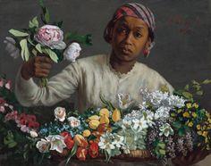 Frédéric Bazille - Jeune femme avec des pivoines (1870)