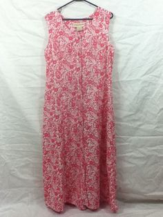Womens Expressions Floral Pink & White A Line Dress Sz 16 Full Length XL Tall #Expressions #Sundress #Casual