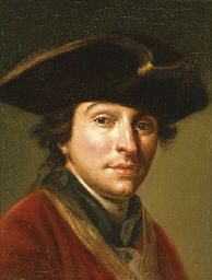 Portrait of the artist Anton von Maron (1733-1808), bust-length, in a red coat and black hat