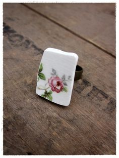 sweet adeline- ring made from an upcycled vintage china plate. by bee vintage redux.