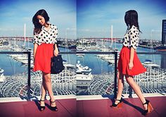 red/orange skirt and polka dots similar color to my polo sport skirt