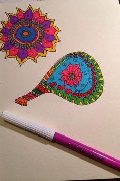 Portuguese guitar and flower, in zentagle