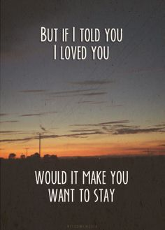Would it make you wanna stay...