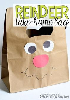 Reindeer take-home bag your students will love! With Christmas season coming, you will do a lot of Christmas crafts and Christmas Art, Christmas Themes, Holiday Crafts, Christmas Holidays, Childrens Christmas, Christmas Goodies, Holiday Ideas, Christmas Ornaments, Preschool Christmas Activities