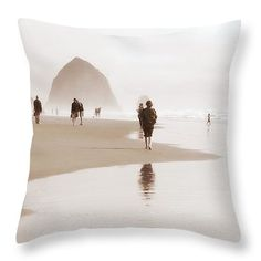 Soft Reflections Throw Pillow by Micki Findlay - TheSingingPhotographer.com - various sizes, home decor, cushion, oregon coast, beach decor, beige, ocean, seascape, cannon beach, sepia