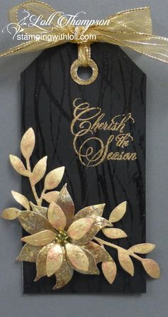 handcrafted Chrismas tag: Loll's Day Five Tag - Twelve Tags of Christmas 2016 ... black and gold ... gorgeous die cut pointsettia and foliage ...