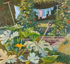 Rosemary Farrer, Washing in the Kitchen Garden, Oil on board, 33x36cm