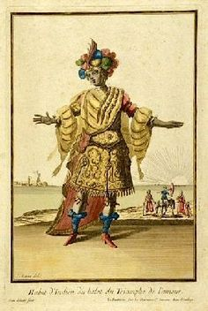 """Costume of an Indian Woman from the Ballet """"Triumph of Love"""" by Jean Berain Père in 1681."""