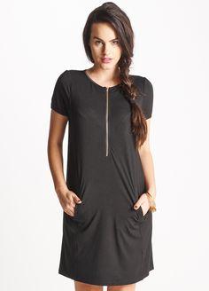 Queen Bee Calla Black Zip Breastfeeding Dress by Floressa Clothing