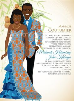 Faire part invites Mon Coeur Congo Traditional Wedding Invitation African Wedding Attire, African Attire, African Dress, African Wedding Theme, Ghana Traditional Wedding, African Traditional Wedding Dress, Wedding Trends, Wedding Styles, Wedding Ideas