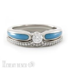 Diamond and Turquoise Engagement Rings