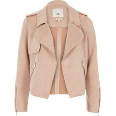 River Island Petite light pink faux suede trench jacket (385 BRL) ❤ liked on Polyvore featuring outerwear, jackets, side zipper jacket, pink jacket, epaulet jacket, river island and faux suede jacket