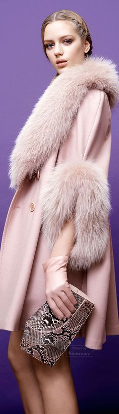 Elie Saab.~ Fur trimmed Cashmere Top Coat Pale Pink, Pre-Fall 2015.