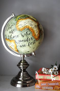 Not All Those Who Wander Are Lost - Extra Large, Mint Globe, Calligraphy, Travel Quotes, Silver Chrome Base, Orange, Green by SimplyGypsyDesigns on Etsy