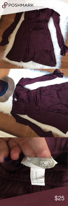 Forever 21 Wine Off the Shoulder Silk Dress Never worn gorgeous wine color. Off the shoulder Forever 21 Dresses